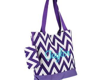 Personalized Tote Bag Purple Chevron Monogrammed Dance Cheer