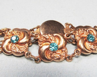 Pretty Pinwheel Victorian Revival Gold Filled Bracelet with Blue Stones