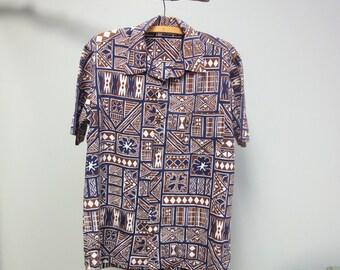 Vintage 60s Hawaiian Shirt Modern Tapa Print Tribal Navy Brown