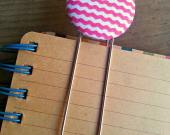 1 Jumbo Pink and White Mini Chevron Button Covered Bookmarks with Large Paper Clip