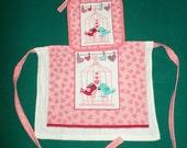 Love Birds Toddler Dish Towel Apron - Girls Valentines Day Art Smock - Valentines Day Dish Towel Apron - Love Birds Apron - Child's Apron