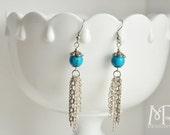 Howlite and Chain Tassle Earrings