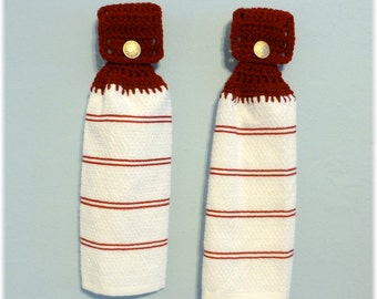 Hanging Kitchen Towels ,Crochet Button Top, Maroon and White Matching Pair,Hostess Gift, Housewarming Gift, Kitchen Decor, Stripes