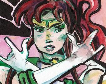 Sailor Moon Sailor Scout Art - Print of Original Painting of Sailor Jupiter - Wall Art by Jen Tracy
