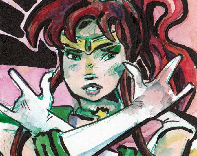 Featured listing image: Sailor Moon Sailor Scout Art - Print of Original Painting of Sailor Jupiter - Wall Art by Jen Tracy