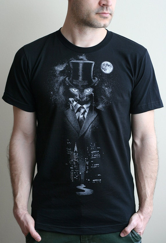 Night Watch - American Apparel Mens T shirt ( Space, Galaxy, Cat print clothing, Master and Margarita t shirt  )