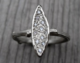 Diamond Leaf Twig Ring: White, Rose, or Yellow Gold; Canadian Diamonds