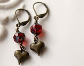 Heart Earrings, Just call me Sweetheart, Valentine, Brass Heart Earrings, Ruby Red