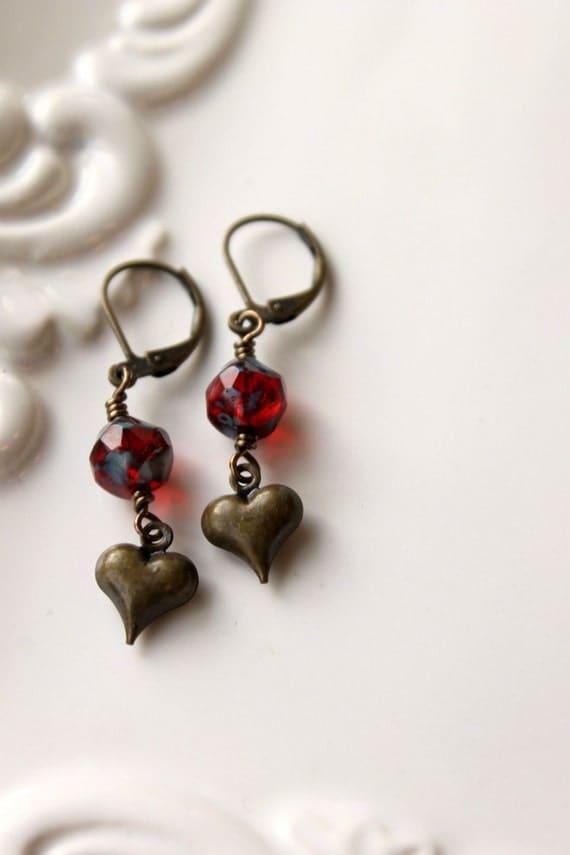 Heart Earrings, Just call me Sweetheart, Valentine, Brass Heart Earrings, Ruby Red