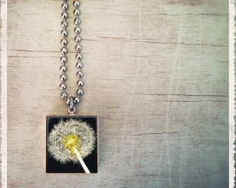 Scrabble Game Tile Jewelry - Dandelion Make A Wish - Scrabble Pendant Charm - Customize - Choose Your Style