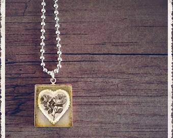 Scrabble Tile Art Pendant - Vintage Silver Rose - Scrabble Jewelry Charm - Customize