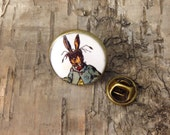 March Hare badge pin - Mad Hatters tea party - Alice in Wonderland vintage illustration - Bronze lapel tie tack - Lewis Carroll