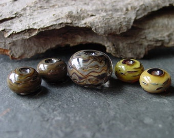 Handmade Lampwork Glass Bead Set. Jewelry Supply. Focal and Earring Pairs. Silvered Glass – Chocolate Caramel. LWS-45