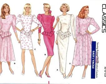 Butterick 5937 Classics Dress Peplum Ruffle Size 6 8 10 Uncut Vintage Sewing Pattern 1987