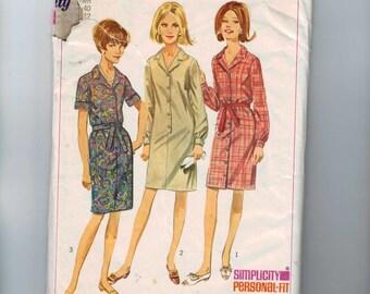 1960s Vintage Dress Pattern Simplicity 6698 Misses Womans Plus Size Shirtwaist Shirt Dress Size 40 Bust 42 60s 1966