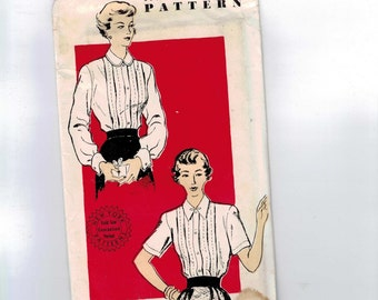 1950s Vintage Sewing Pattern New York 662 Misses Blouse Tucked Front Round Collar Size 20 or 40 Bust 36 28 or 40 50s UNUSED