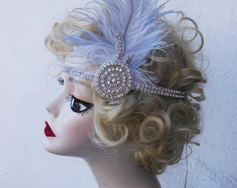Super Glam, Gray and Ivory White, Great Gatsby, Feather Headband, Bridal Head Piece, 1920's Flapper,Crystal Head Dress,  Batcakes Couture