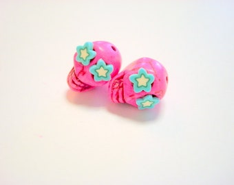 Crazy Starry Eyed Pink and Turquoie Small  Day of The Dead Skull Beads-13mm