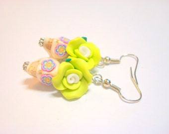 Happy Green and Ivory Day of the Dead Roses and Sugar Skull Earrings