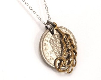 British shilling coin necklace, with crest, crown and feather