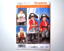 Simplicity 2561 Toddler Costumes Pattern Pirate or Buccaneer DIY Halloween Dress Up Size A (1/2, 1, 2, 3, 4)