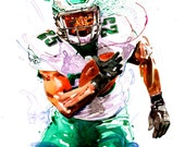 Watercolor portrait painting of Philadelphia Eagles football player LeSean McCoy-giclee from original