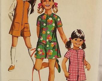 Vintage 70's Sewing Pattern, Girls' Pantdress or Pantjump, Size 6 Romper