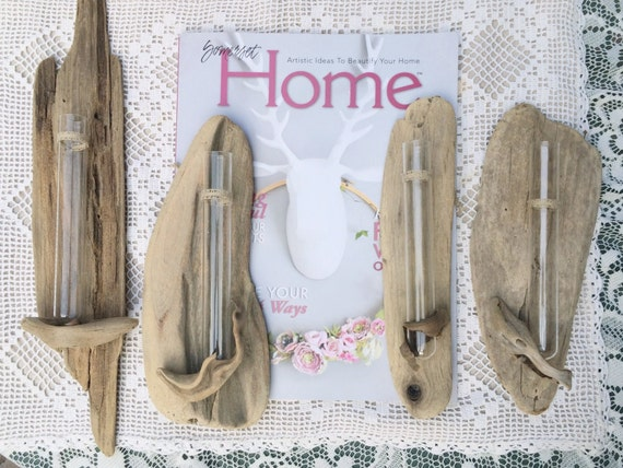 RESERVED-Sold- Sweet Driftwood Beach Decor Wall Flower Hanging Bud Vase  Home Wedding Decor Happy Beach Thoughts Single Flower Glass Vase
