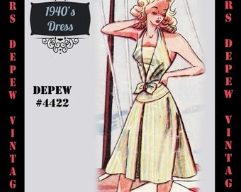 Vintage Sewing Pattern 1940's Halter Dress in Any Size # 4422 Draft at Home Pattern - PLUS Size Included -INSTANT DOWNLOAD-