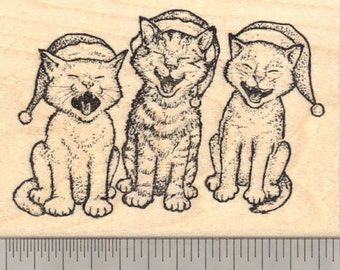 Christmas Caroling Cat Rubber Stamp, Singing Cats K23012 Wood Mounted