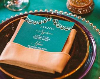 25 Emerald Food Menu Cards