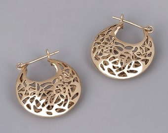 Filigree Earrings, 14K Gold Earrings, Solid Gold Earrings, Gold Basket Earrings, Gold Earrings, Gold Lace Earrings, 14k Small Basket Lace