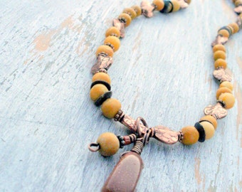 Basically...Yellow Marble, Goldstone and Copper Necklace