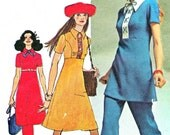 1970s Empire Waist Princess Seam Mod A Line Dress Tunic Straight Leg Pants Vintage Sewing Pattern Simplicity 9502 Bust 34