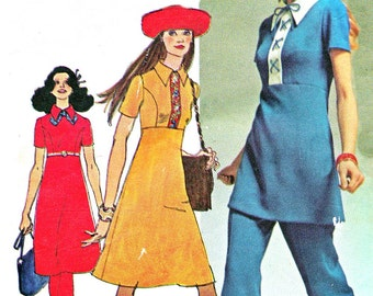 1970s Empire Waist Princess Seam Mod A Line Dress Tunic Straight Leg Pants Vintage Sewing Pattern Simplicity 9502 Bust 34