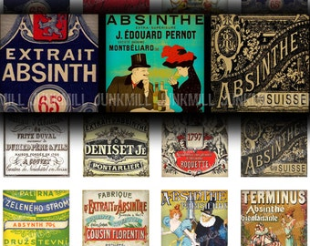 """ABSINTHE - Digital Printable Collage Sheet - French Victorian Absinthe Labels, Green Fairy Advertisements, 1"""" Squares and Scrabble Tiles"""