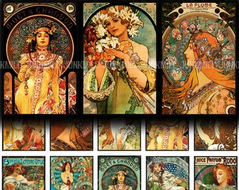 "MUCHA MATCHBOX - Digital Printable Collage Sheet - 1.4"" x 2.1"" - Alphonse Mucha Art Nouveau Paintings, DIY Matchbox Images, Digital Download"
