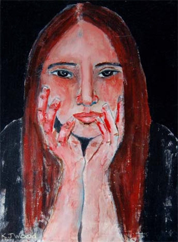 Acrylic Portrait Painting Sad Solemn Girl Hands Face 9x12 Canvas Board In Your Absence 9x12 original emotional white black gray