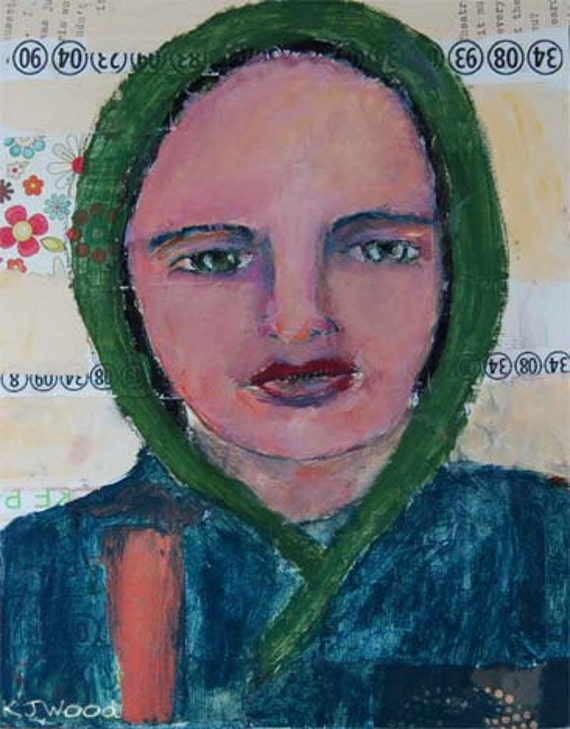 Acrylic Portrait Painting, New Dawn, Woman, Blue Coat, Green Bonnet, 8x10 Mixed Media, Collage, Canvas Panel
