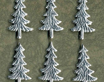 Dresden Silver Foil Trees Made In Germany - Embossed Holiday Paper Scrap - 6 Tiny Christmas Trees  Perfect for Ornaments Tags Cards