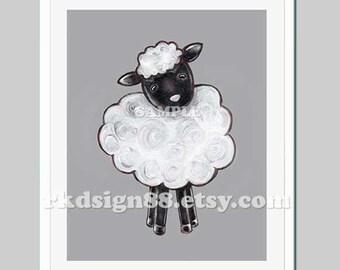 Farm nursery art print, baby boy nursery decor, kids wall art, baby decor, baby art print, farm art, sheep - My Ba Ba 8 x 10