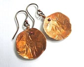 Hand Forged Copper Dangle Earrings Rustic Primitive Eco Friendly Jewelry