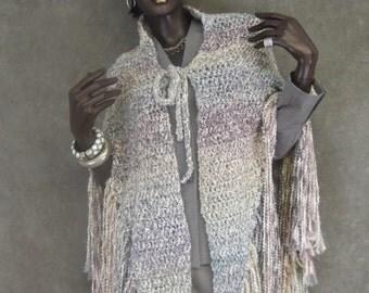 Crochet Wrap,Crochet Shawl,Fringed Shawl, Clothing,Accessory,Grey Shawl,Women