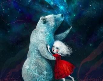 Star Bear print 11X14 print -- Bear art zuni hopi bear native american, illustration of girl, bear poster art for children - by Lisa Falzon