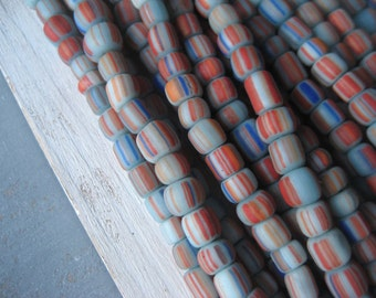 small blue glass beads opaque matte red orange striped seed beads barrel ethnic spacer tube Modern Indo-pacific 3 to 6mm / 10 inch 3BBGL19-5