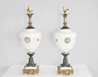 SALE hollywood regency 2 mid century tall marble base lamps