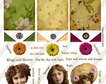Digital Collage Sheet  Vintage Girl  Images (Sheet no. O167) Instant Download