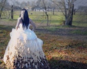 Ivory Peacock feather wedding gown skirt - Handmade peacock feather skirt of 500 plus feathers - Custom Bridal Gown