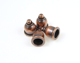 6mm Cord Ends - Antique Copper End Caps - Kumihimo Cord Caps - TierraCast TAJ Cord Ends (PF2071)
