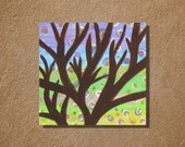"Acrylic Painting on Wood Panel Canvas Tree on Swirls 8"" x 8"" Wall Art"